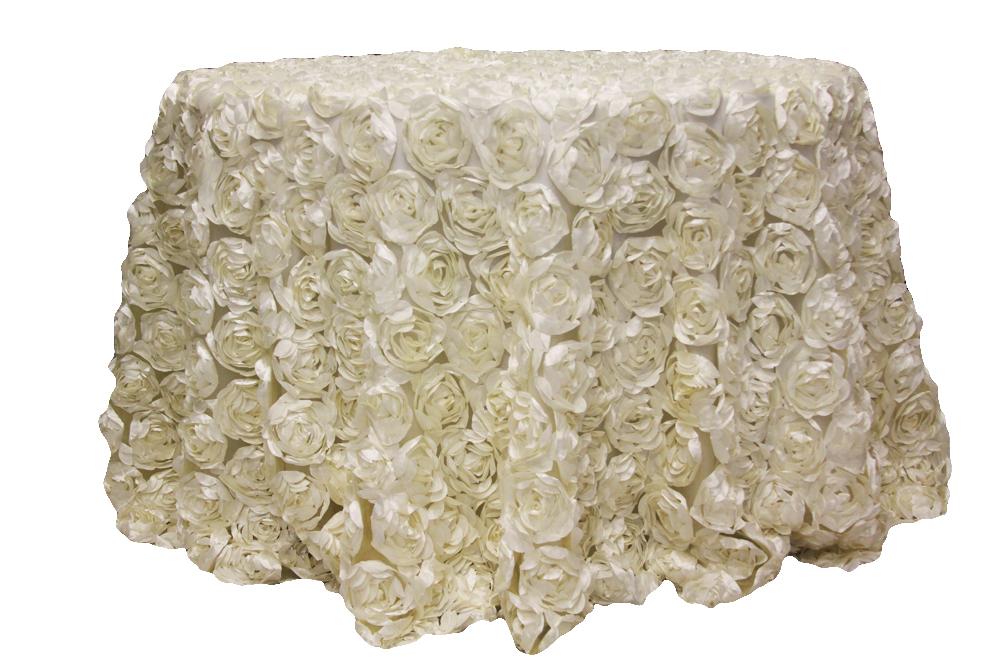tovaglia tonda rose chiffon bianco